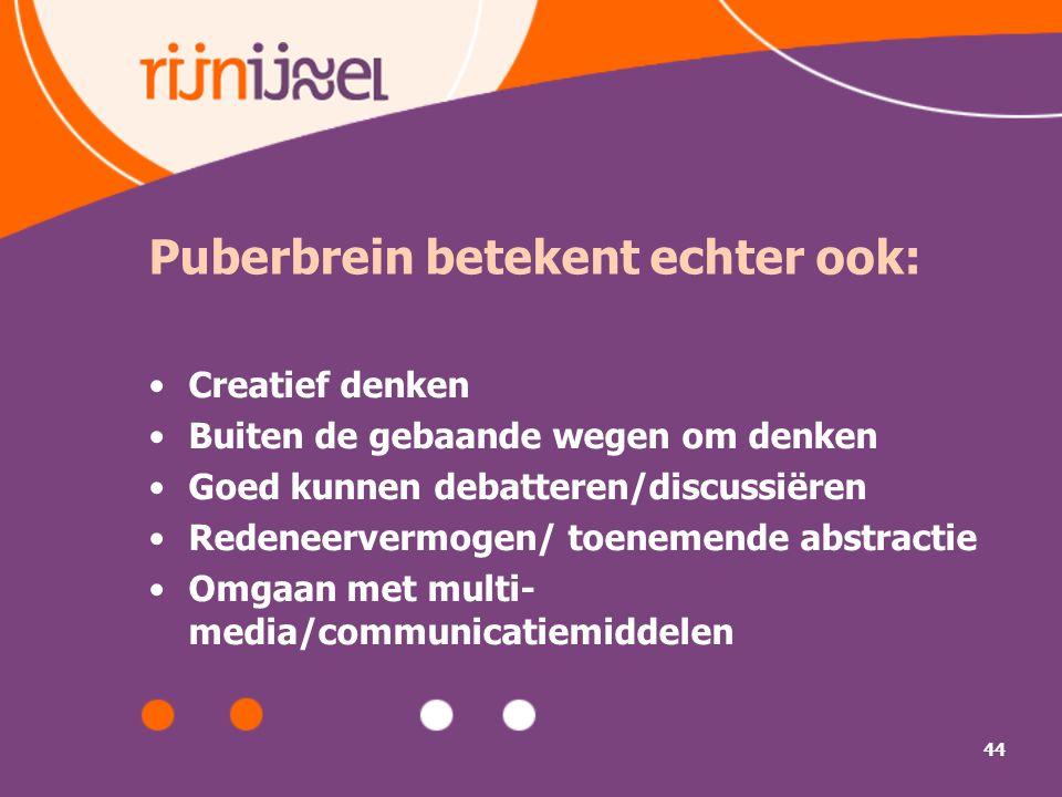Puberbrein betekent echter ook: