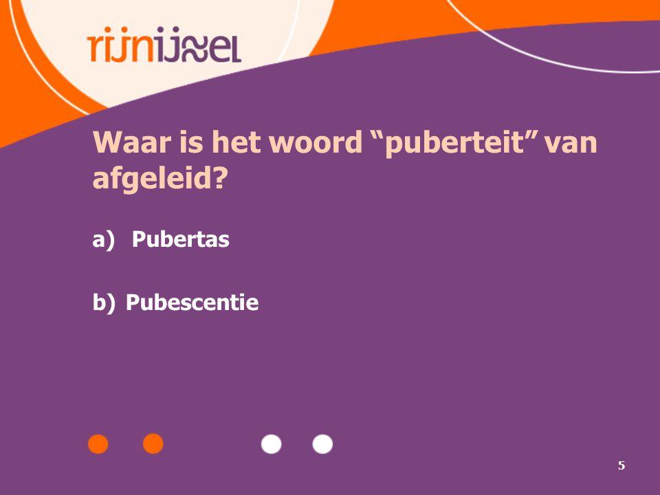 Waar is het woord puberteit van afgeleid
