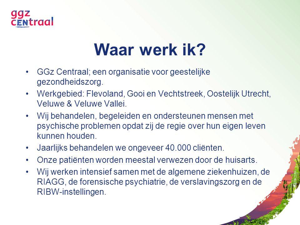 Waar werk ik GGz Centraal; een organisatie voor geestelijke gezondheidszorg.