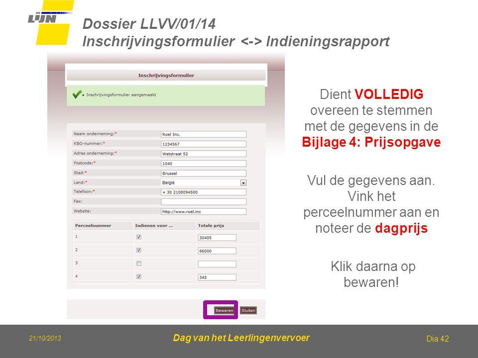 Dossier LLVV/01/14 Inschrijvingsformulier <-> Indieningsrapport