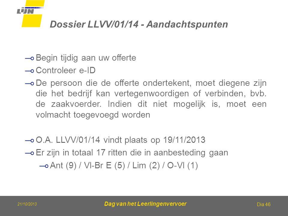 Dossier LLVV/01/14 - Aandachtspunten