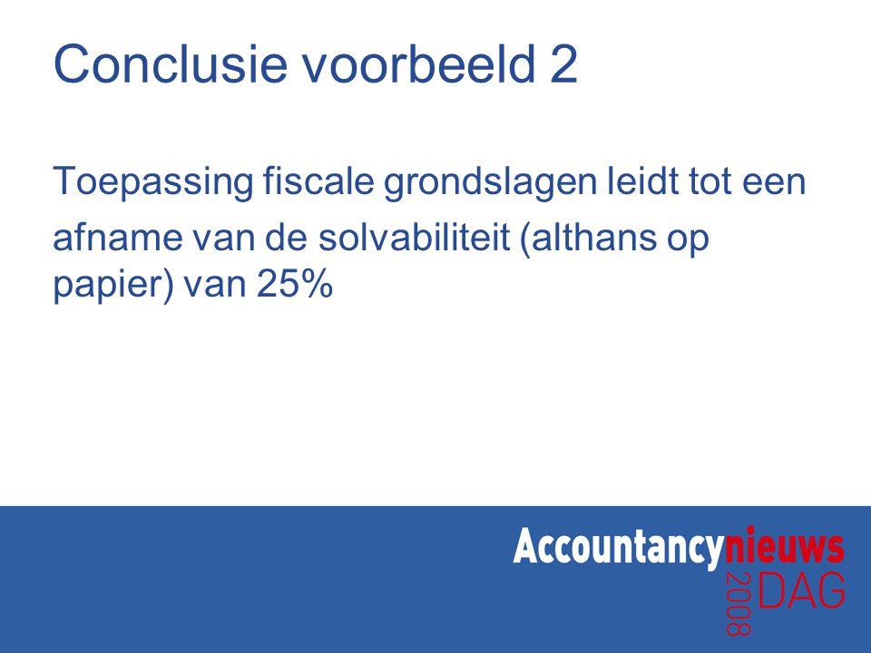 Conclusie voorbeeld 2 Toepassing fiscale grondslagen leidt tot een