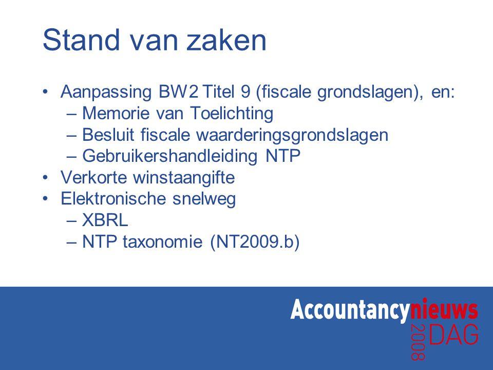 Stand van zaken Aanpassing BW2 Titel 9 (fiscale grondslagen), en: