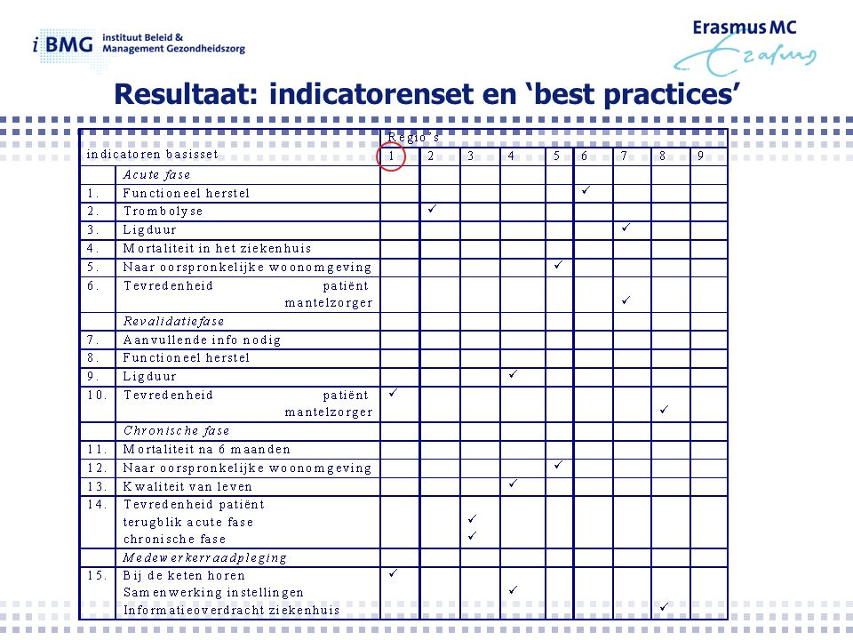 Resultaat: indicatorenset en 'best practices'