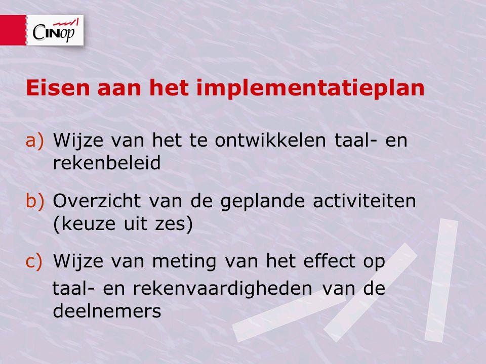 Eisen aan het implementatieplan