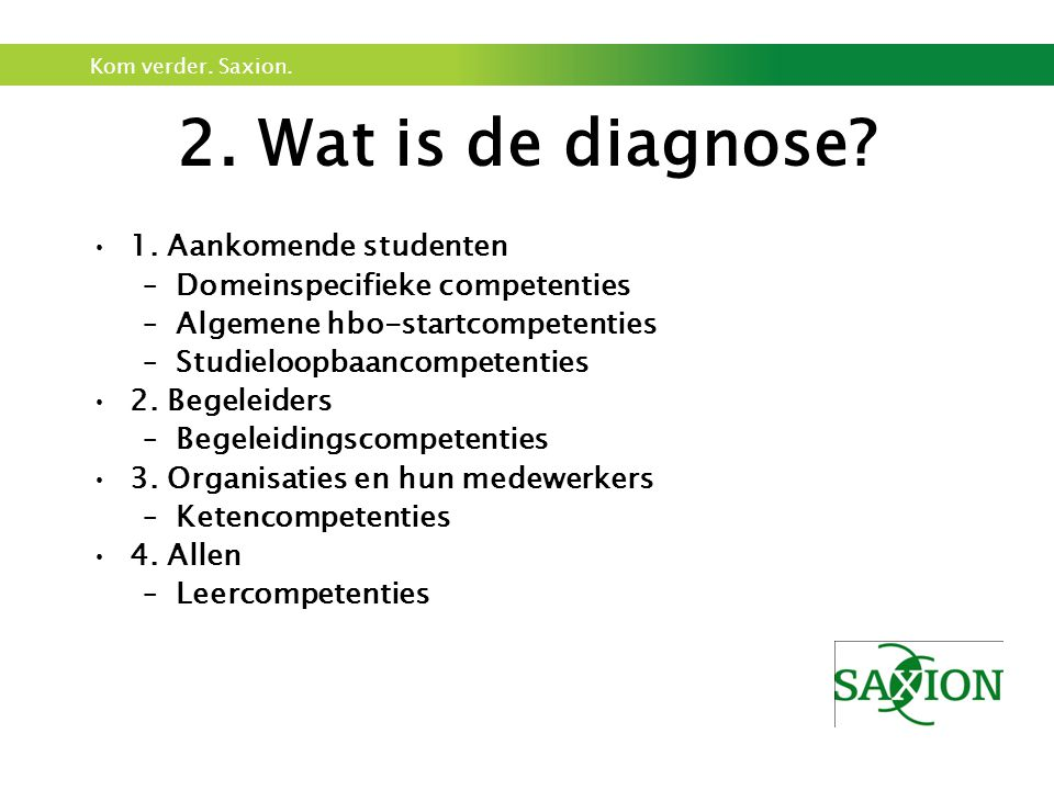 2. Wat is de diagnose 1. Aankomende studenten