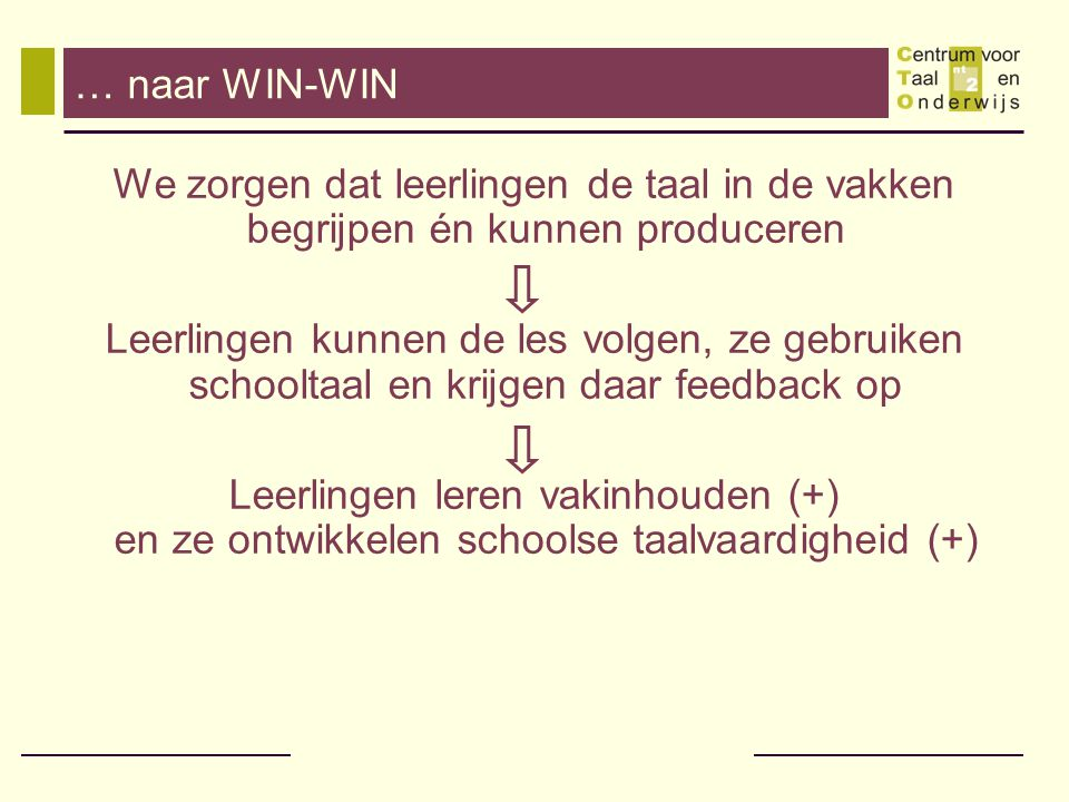 … naar WIN-WIN We zorgen dat leerlingen de taal in de vakken begrijpen én kunnen produceren.