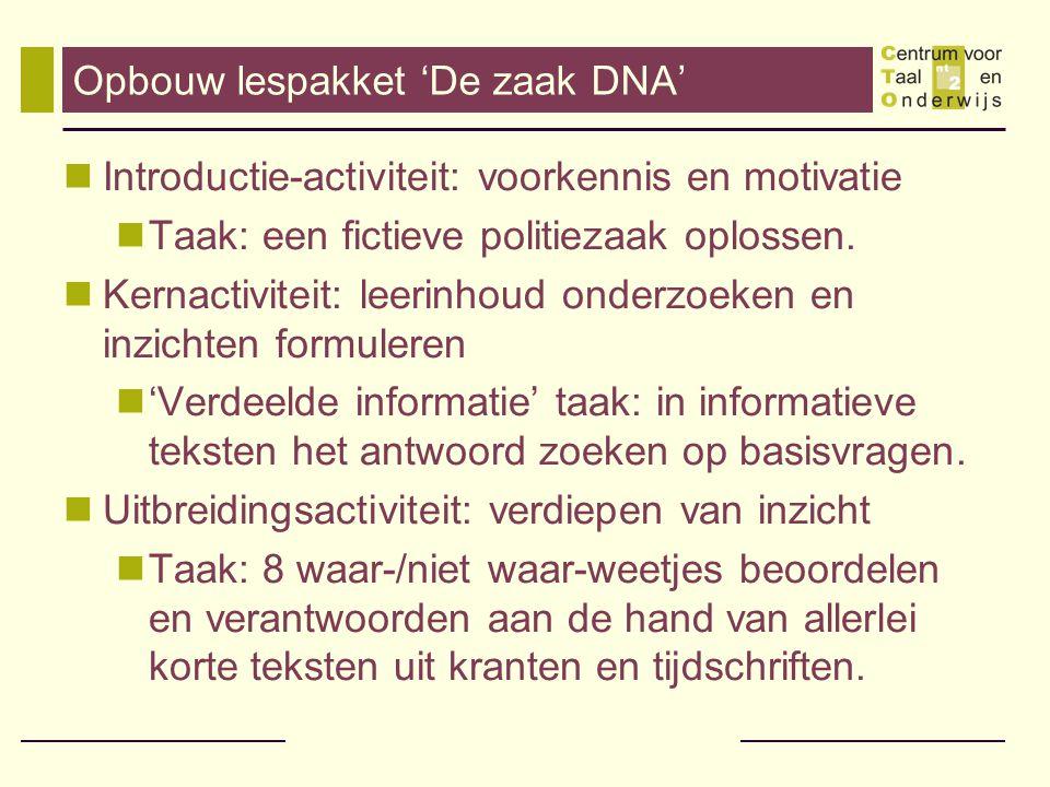 Opbouw lespakket 'De zaak DNA'