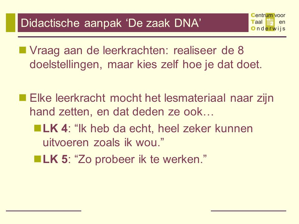 Didactische aanpak 'De zaak DNA'
