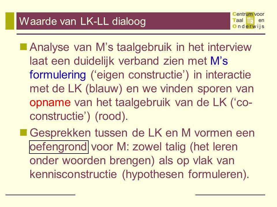Waarde van LK-LL dialoog