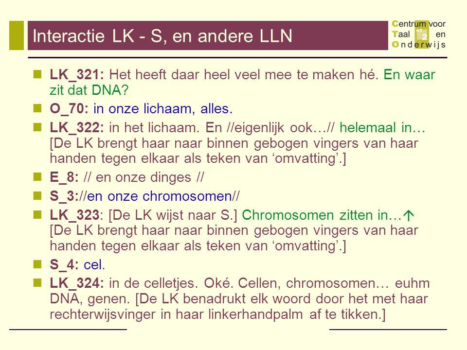 Interactie LK - S, en andere LLN
