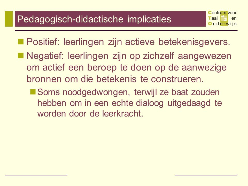Pedagogisch-didactische implicaties