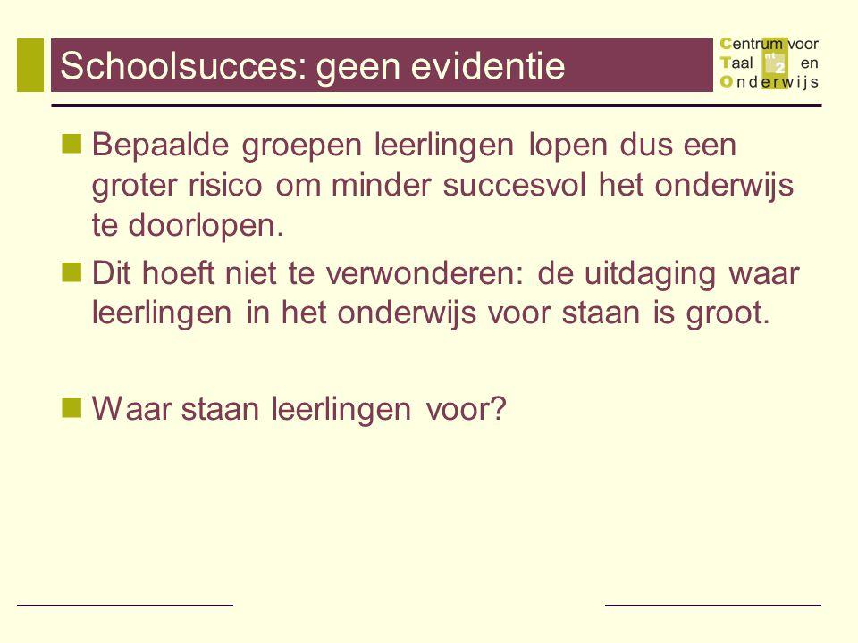 Schoolsucces: geen evidentie