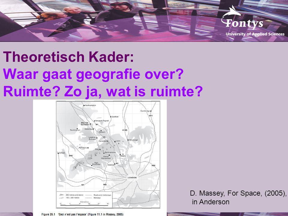 Theoretisch Kader: Waar gaat geografie over. Ruimte