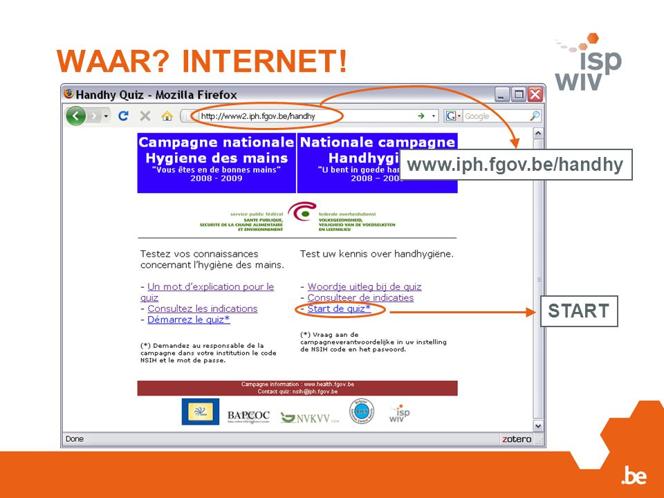 WAAR INTERNET! www.iph.fgov.be/handhy START
