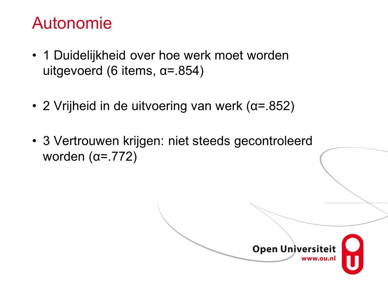 Autonomie 1 Duidelijkheid over hoe werk moet worden uitgevoerd (6 items, α=.854) 2 Vrijheid in de uitvoering van werk (α=.852)