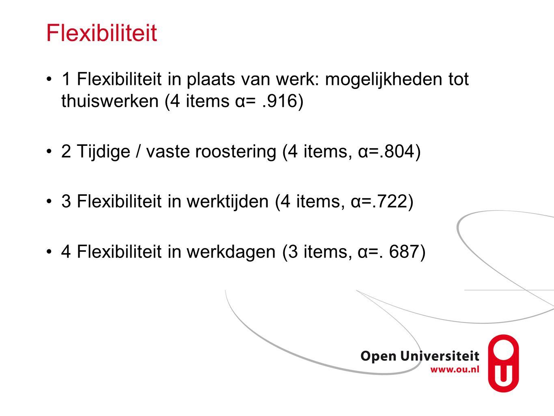 Flexibiliteit 1 Flexibiliteit in plaats van werk: mogelijkheden tot thuiswerken (4 items α= .916) 2 Tijdige / vaste roostering (4 items, α=.804)