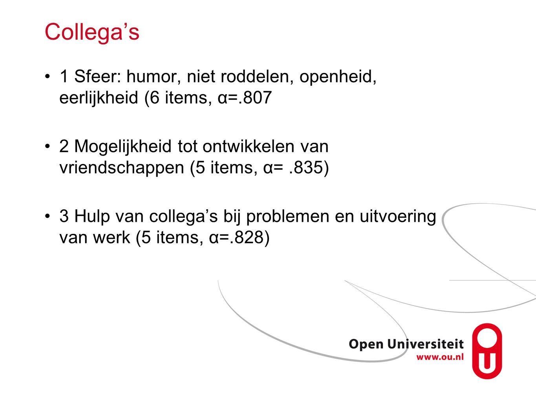 Collega's 1 Sfeer: humor, niet roddelen, openheid, eerlijkheid (6 items, α=.807.
