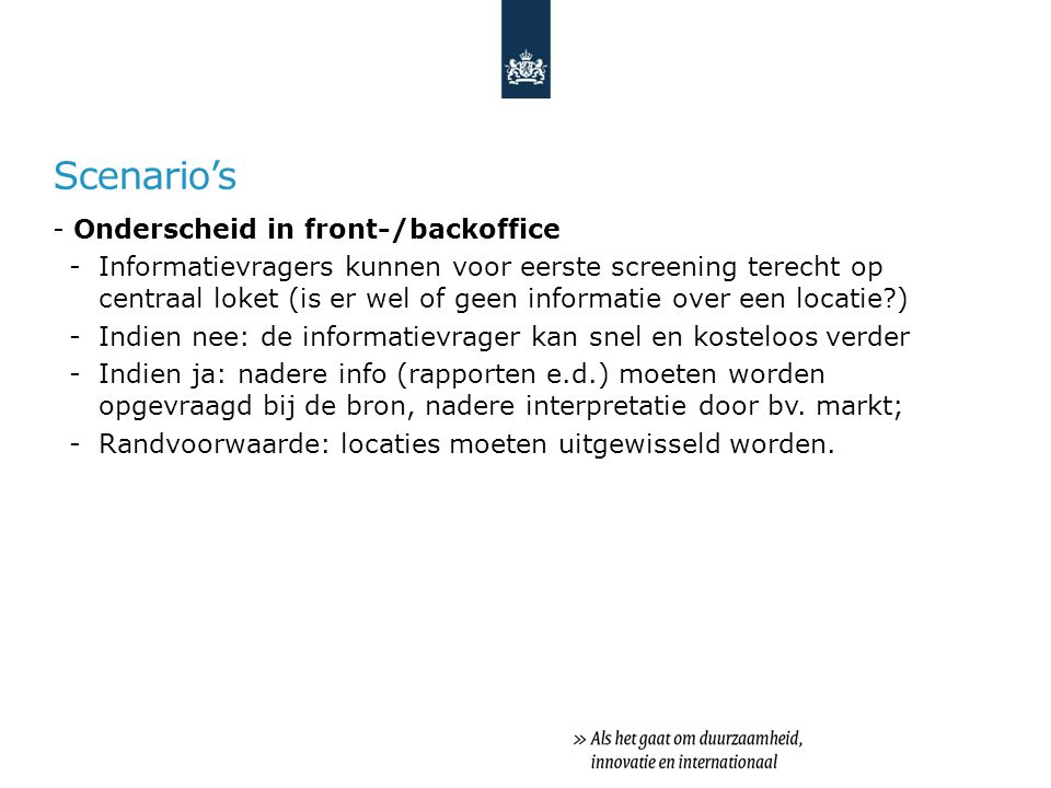 Scenario's Onderscheid in front-/backoffice