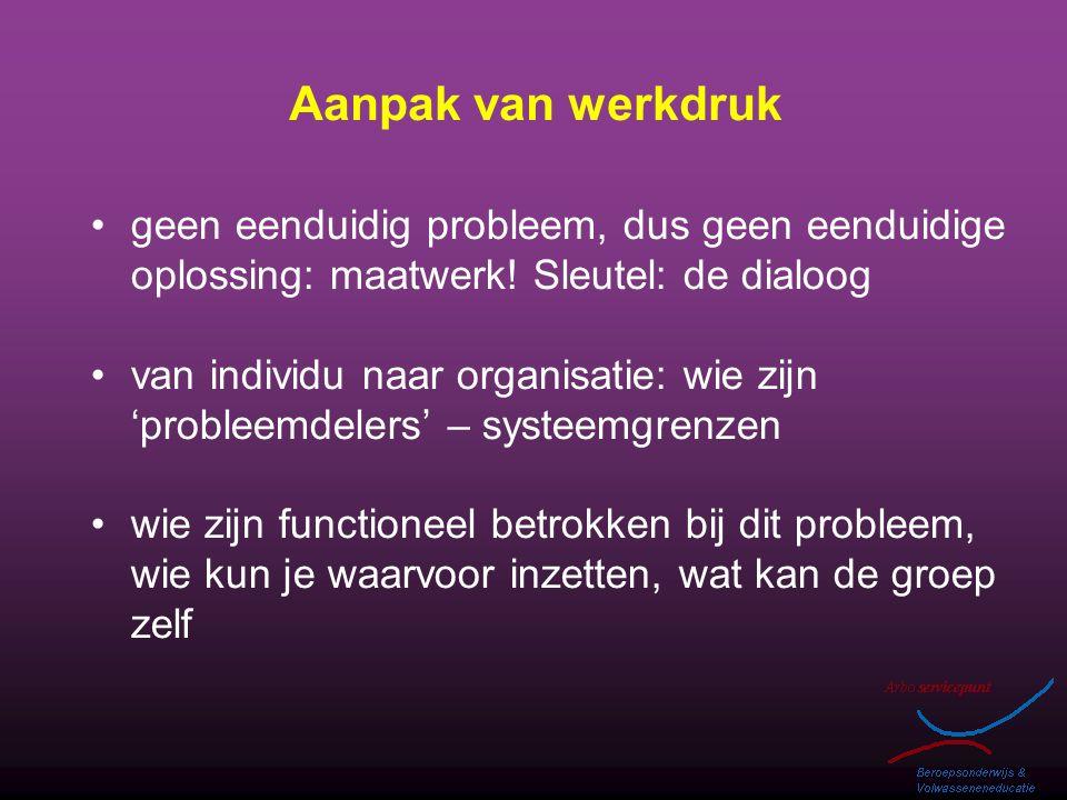 Aanpak van werkdruk geen eenduidig probleem, dus geen eenduidige oplossing: maatwerk! Sleutel: de dialoog.