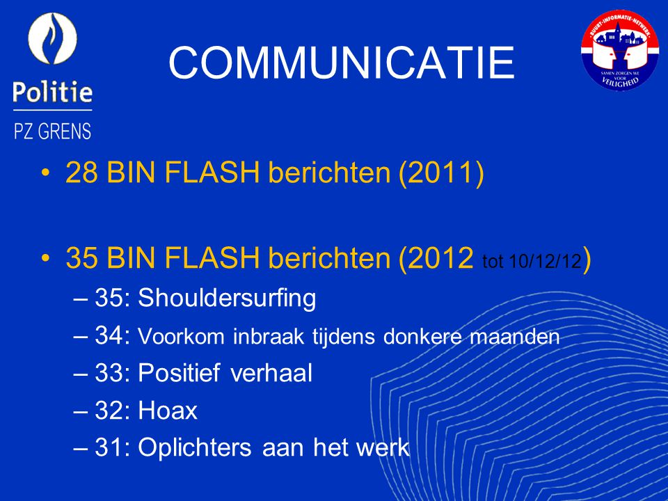 COMMUNICATIE 28 BIN FLASH berichten (2011)