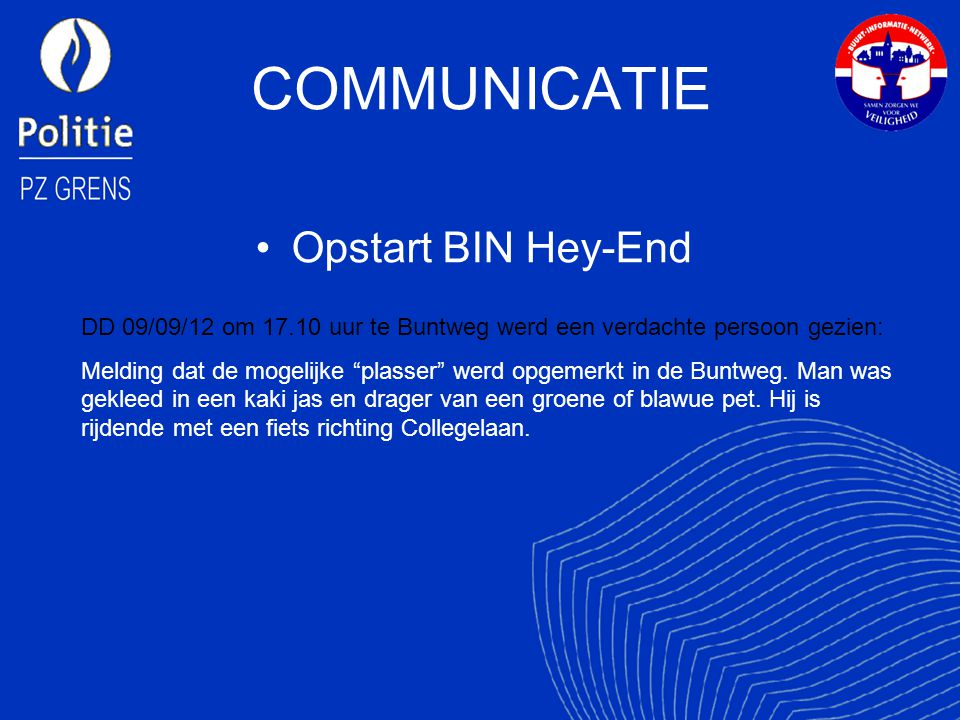 COMMUNICATIE Opstart BIN Hey-End