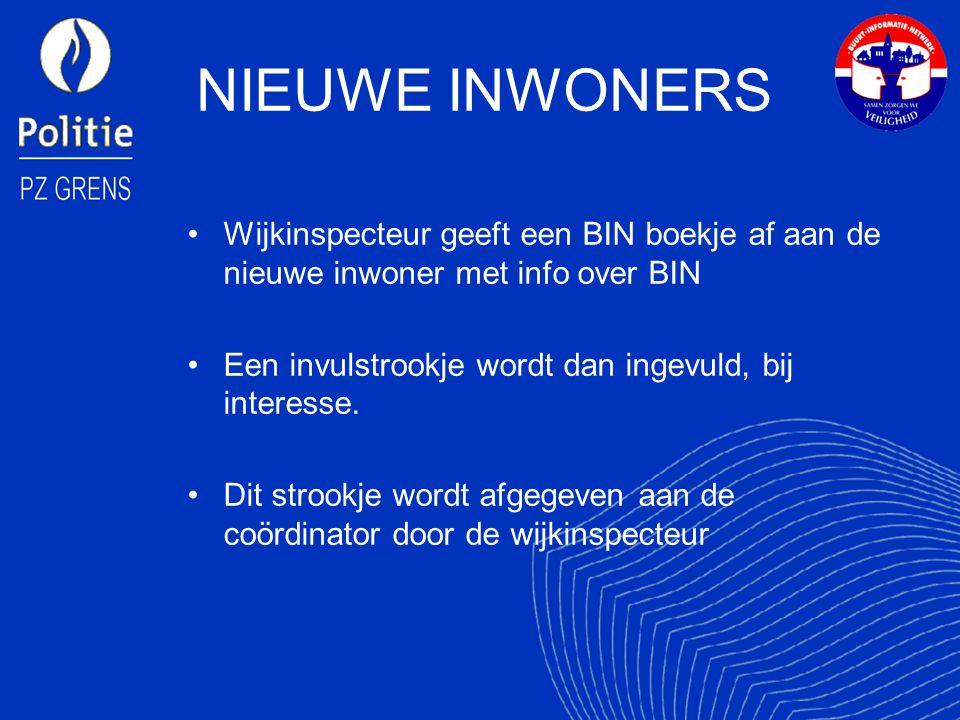 NIEUWE INWONERS Wijkinspecteur geeft een BIN boekje af aan de nieuwe inwoner met info over BIN. Een invulstrookje wordt dan ingevuld, bij interesse.
