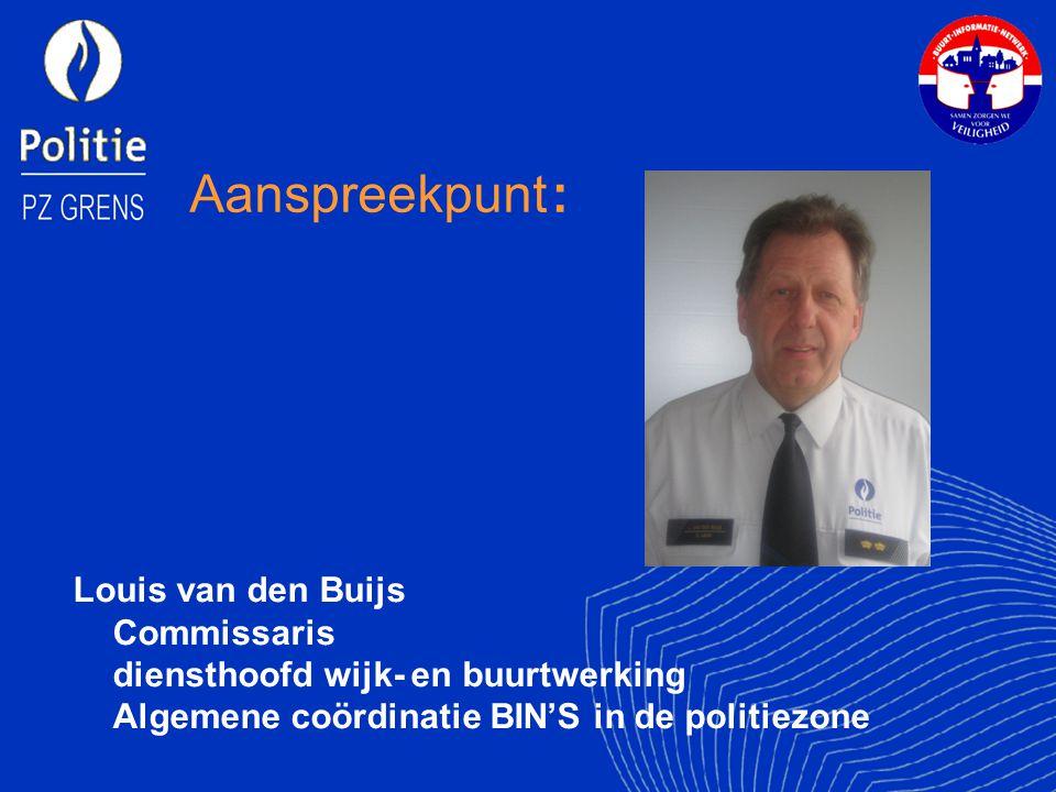 Aanspreekpunt : Louis van den Buijs Commissaris diensthoofd wijk- en buurtwerking Algemene coördinatie BIN'S in de politiezone.
