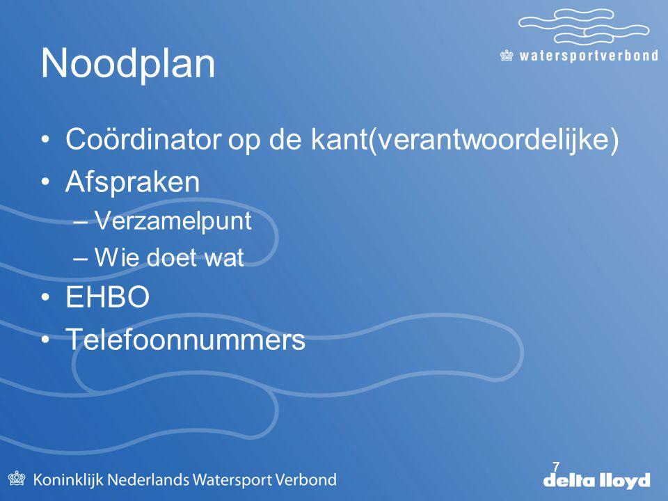 Noodplan Coördinator op de kant(verantwoordelijke) Afspraken EHBO