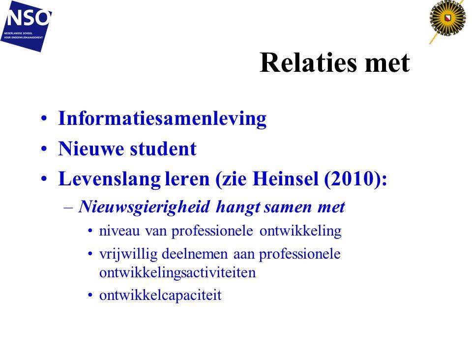 Relaties met Informatiesamenleving Nieuwe student