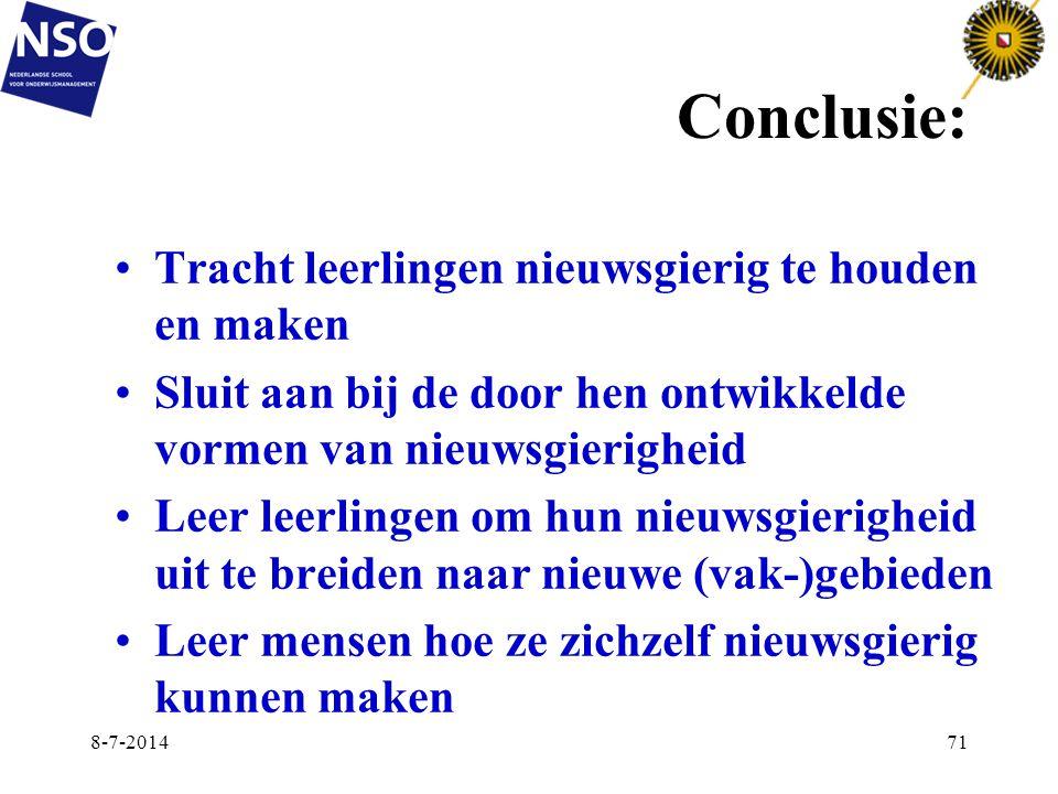 Conclusie: Tracht leerlingen nieuwsgierig te houden en maken