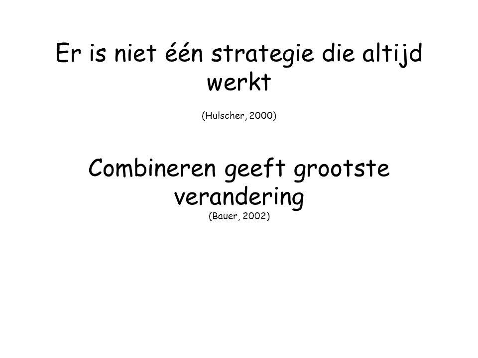 Er is niet één strategie die altijd werkt (Hulscher, 2000) Combineren geeft grootste verandering (Bauer, 2002)
