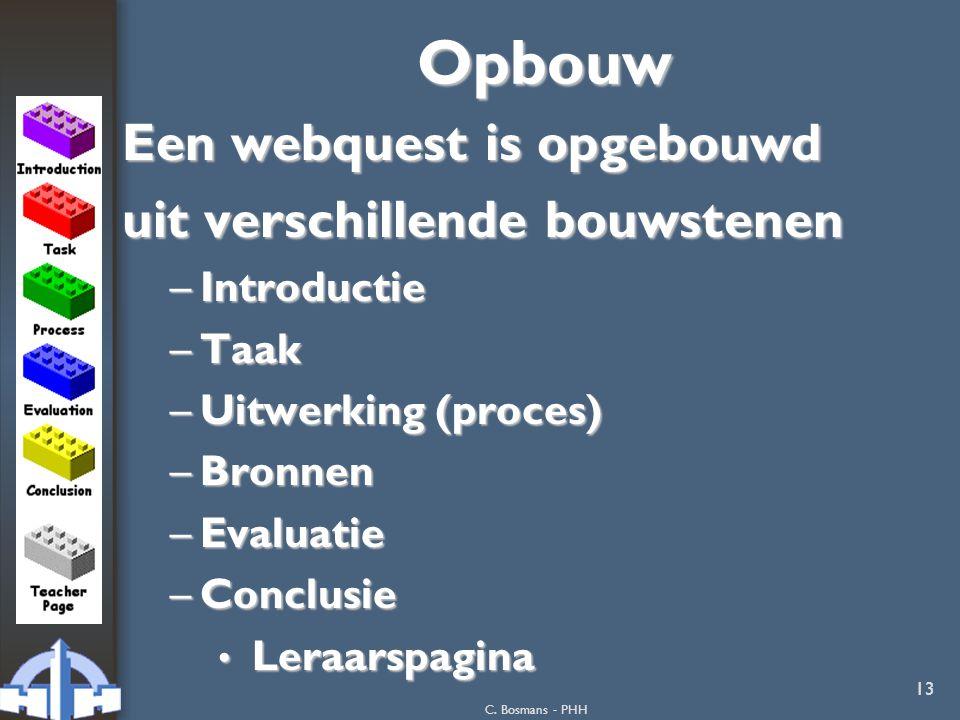 Opbouw Een webquest is opgebouwd uit verschillende bouwstenen