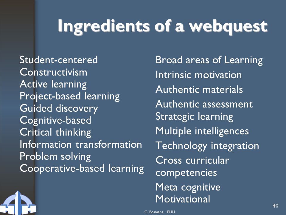 Ingredients of a webquest