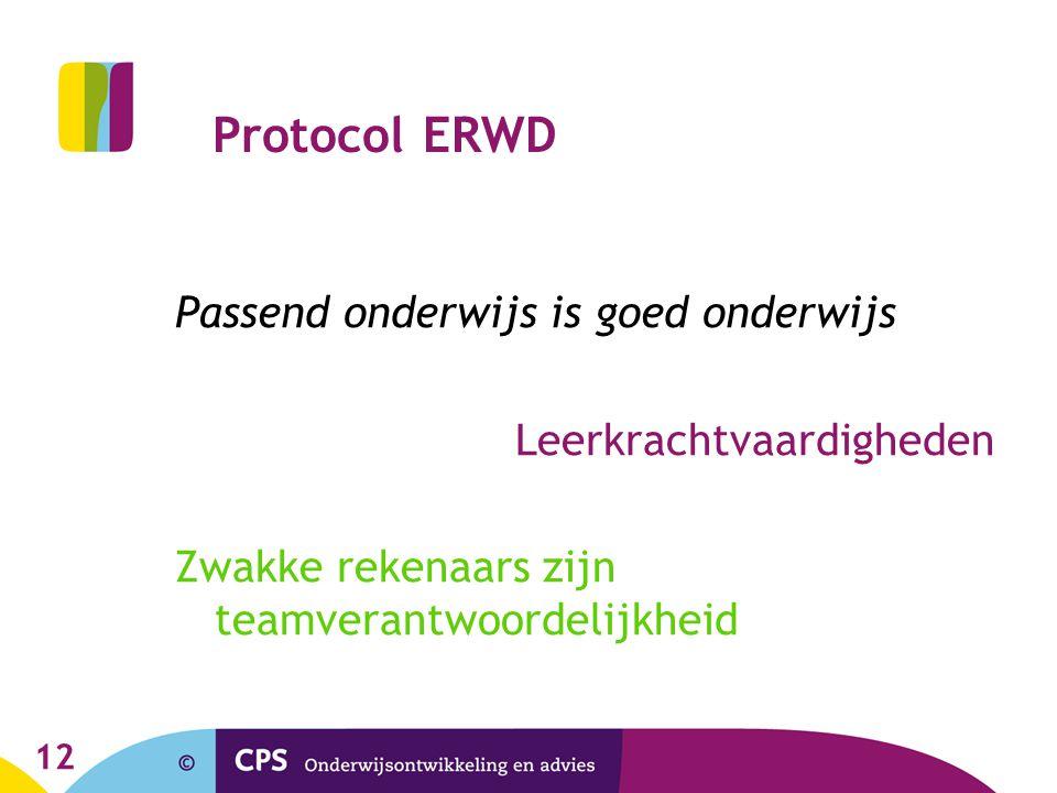 Protocol ERWD Passend onderwijs is goed onderwijs