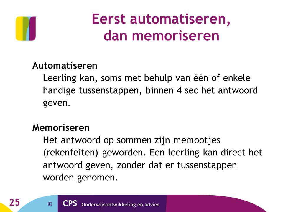 Eerst automatiseren, dan memoriseren