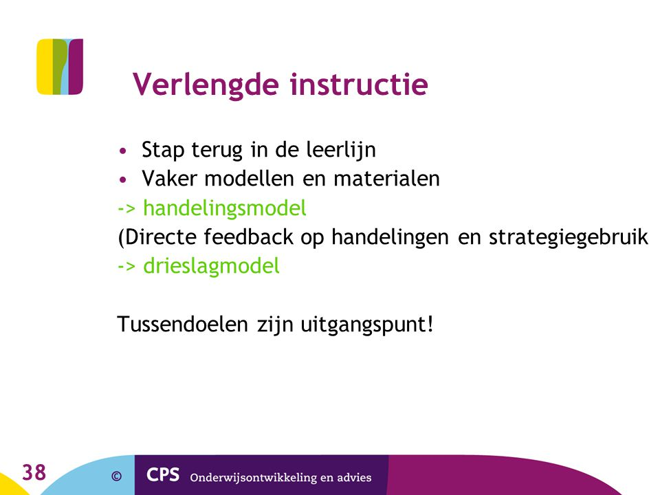 Verlengde instructie Stap terug in de leerlijn