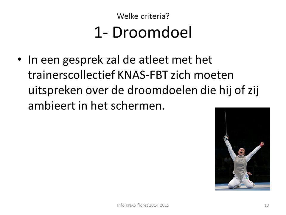 Welke criteria 1- Droomdoel