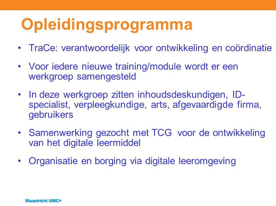 Opleidingsprogramma TraCe: verantwoordelijk voor ontwikkeling en coördinatie.