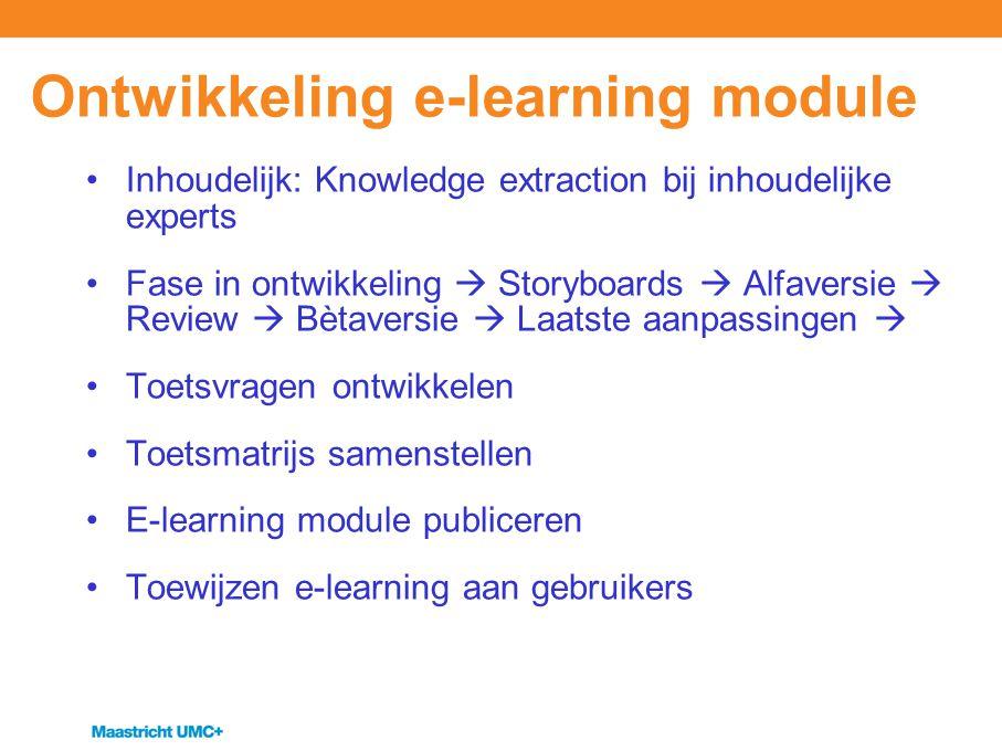 Ontwikkeling e-learning module