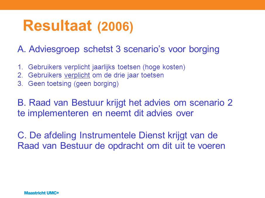 Resultaat (2006) A. Adviesgroep schetst 3 scenario's voor borging