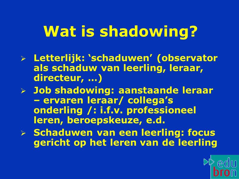 Wat is shadowing Letterlijk: 'schaduwen' (observator als schaduw van leerling, leraar, directeur, …)