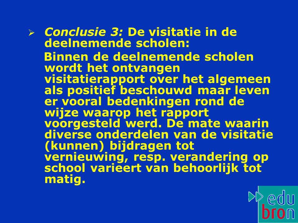 Conclusie 3: De visitatie in de deelnemende scholen: