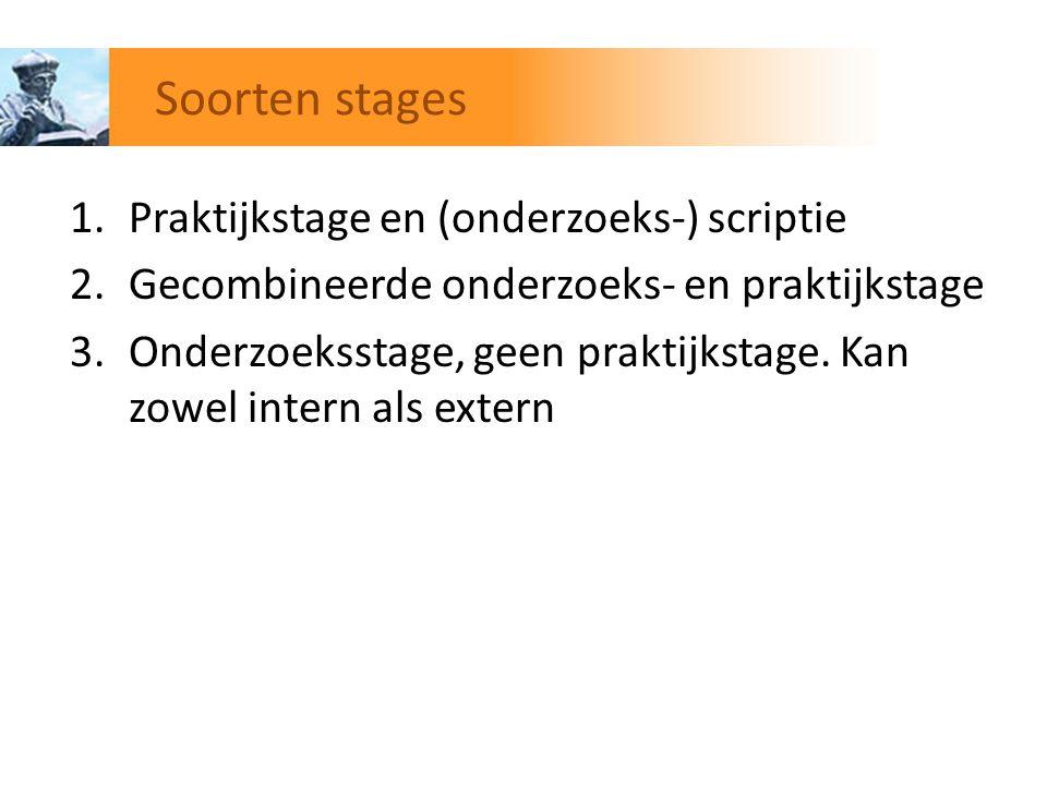 Soorten stages Praktijkstage en (onderzoeks-) scriptie