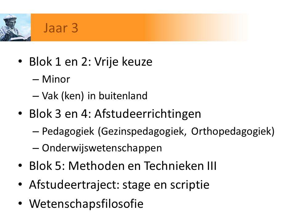 Jaar 3 Blok 1 en 2: Vrije keuze Blok 3 en 4: Afstudeerrichtingen