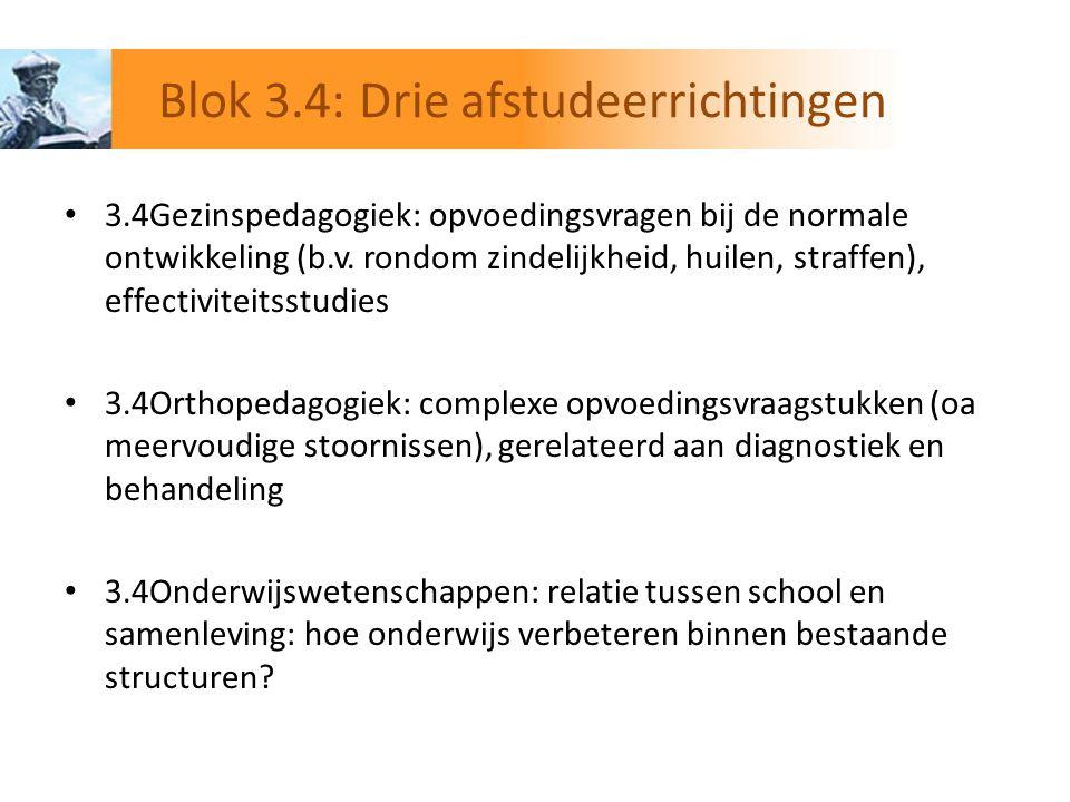 Blok 3.4: Drie afstudeerrichtingen