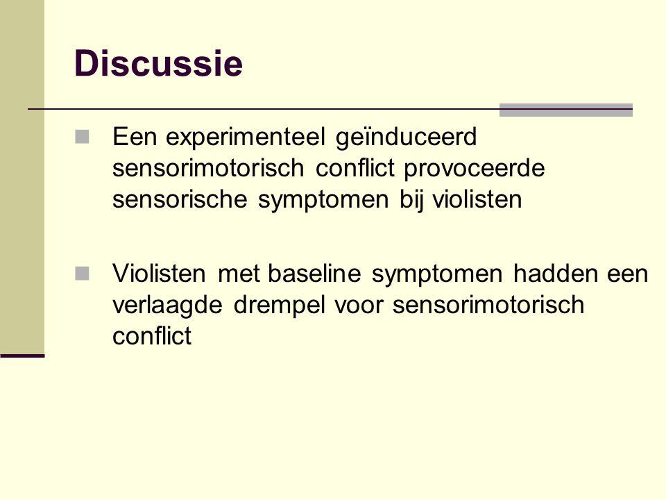 Discussie Een experimenteel geïnduceerd sensorimotorisch conflict provoceerde sensorische symptomen bij violisten.