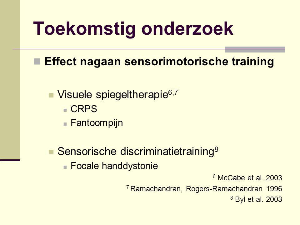 Toekomstig onderzoek Effect nagaan sensorimotorische training