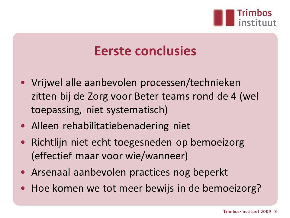 Eerste conclusies Vrijwel alle aanbevolen processen/technieken zitten bij de Zorg voor Beter teams rond de 4 (wel toepassing, niet systematisch)