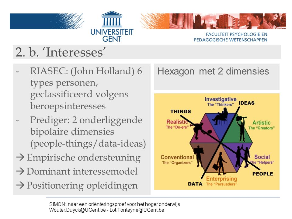 2. b. 'Interesses' RIASEC: (John Holland) 6 types personen, geclassificeerd volgens beroepsinteresses.